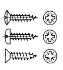 """""""ISR"""" - Шуруп типа ABC-SPAX-""""S"""" для использования в древесно-стружечных плитах с крестообразным шлицем Pozidriv (Aрт. 88091 – 88099) – С полупотайной головкой – С полукруглой головкой – С потайной головкой"""